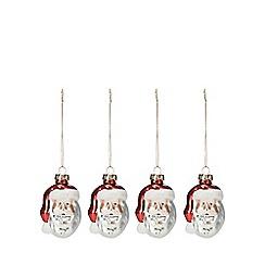 Debenhams - 4 pack white and red glitter santa head Christmas tree decorations