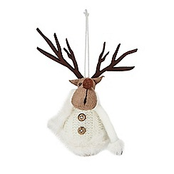Debenhams - White reindeer Christmas tree decoration