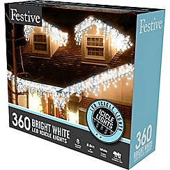 Festive - White bright 360 LED icicle lights