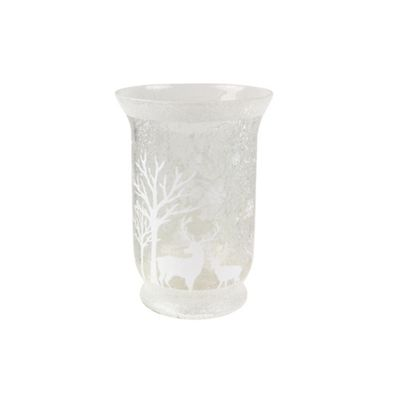 Gisela Graham   Silver Glass Glitter Tea Light Holder by Gisela Graham
