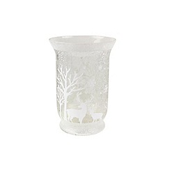 Gisela Graham - Silver glass glitter tea light holder
