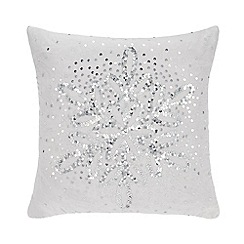 Home Collection - Silver sequinned snowflake cushion