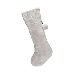 Home Collection - Light grey faux fur Christmas stocking