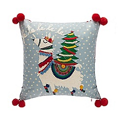 Home Collection - Multicoloured festive llama pom pom cushion