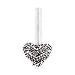 Parlane - Silver Beaded Heart Tree Decoration