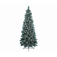 Kaemingk - 7ft White and Green 'Norwich' Frosted Pine Christmas Tree