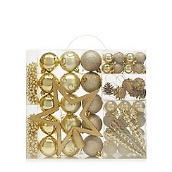 Home Collection - Pack of 62 gold baubles, beads and star Christmas set