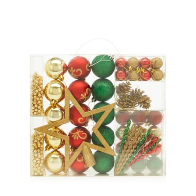 Home Collection Pack of 62 assorted baubles, beads and star Christmas set |  Debenhams - Home Collection Pack Of 62 Assorted Baubles, Beads And Star