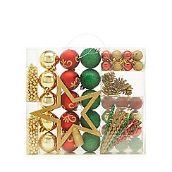 Home Collection - Pack of 62 assorted baubles, beads and star Christmas set