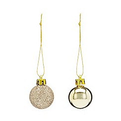Home Collection - Pack of 40 gold glitter and plain Christmas baubles