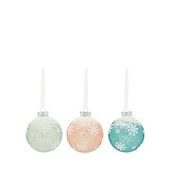 Home Collection - Pack of 3 assorted glitter frosted Christmas baubles