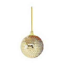 Home Collection - Set of four gold sequin Christmas baubles