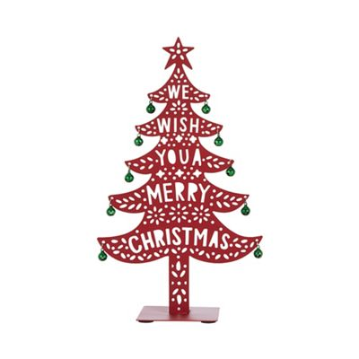 Home Collection Red 'Merry Christmas' tree Christmas decoration | Debenhams - Home Collection Red 'Merry Christmas' Tree Christmas Decoration