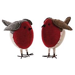 Festive - Multi-coloured standing robin figurine