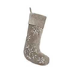 Home Collection - Grey sequin snowflake stocking