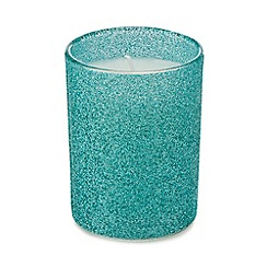 Debenhams - Green glitter candle