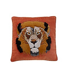 Abigail Ahern/EDITION - Orange lion applique feather filled cushion