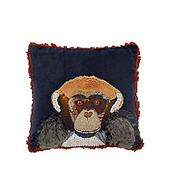 Abigail Ahern/EDITION - Navy chimpanzee applique feather filled cushion