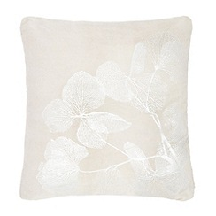 RJR.John Rocha - Grey metallic leaf print feather filled cushion