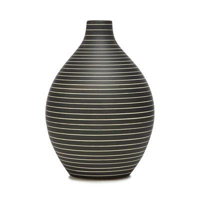 Rjrhn Rocha Dark Grey Striped Bottle Vase Debenhams