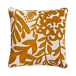 RJR.John Rocha - Mustard yellow crewel floral cushion