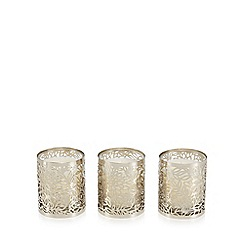RJR.John Rocha - Set of 3 silver floral cut-out orchid and fern scented votive candles