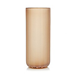 RJR.John Rocha - Large light orange textured stripe glass vase