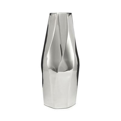 Rjrhn Rocha Large Silver Twisted Metal Vase Debenhams