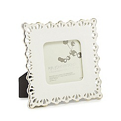 RJR.John Rocha - Off-white ceramic cut-out lace photo frame