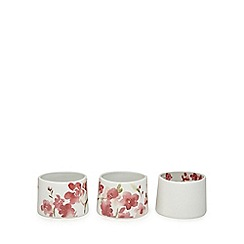 RJR.John Rocha - Set of three white floral print tea light holders
