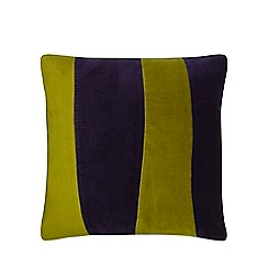 J by Jasper Conran - Navy and green stripe velvet cushion