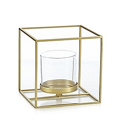 J by Jasper Conran - Small gold metal and glass candle holder