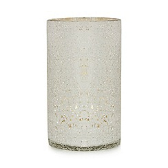 Star by Julien Macdonald - Glass silver crackle effect hurricane lamp