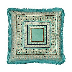 Butterfly Home by Matthew Williamson - Light turquoise esperanza embroidered cushion