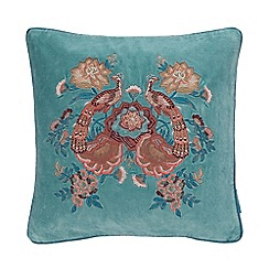 MW by Matthew Williamson - Aqua peacock embroidered 'Keira' cushion