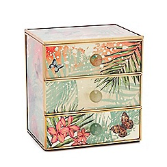 MW by Matthew Williamson - Multicoloured Botantical Print Three-Drawer Glass Trinket Box