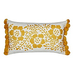 Home Collection - Yellow floral embroidered cushion