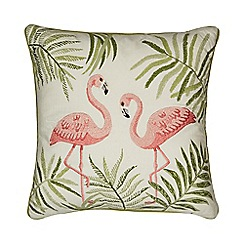 Home Collection - Green flamingo embroidered cushion