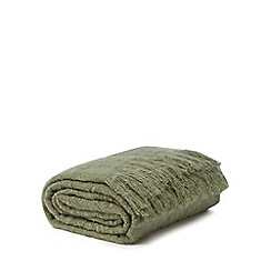 Home Collection - Green faux mohair tassel throw