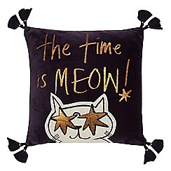 Home Collection - Navy velvet 'Meow' cushion