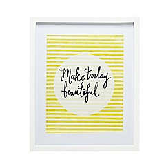 Home Collection Basics - Yellow 'Make Today Beautiful' slogan print wall art