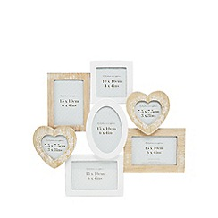 Home Collection - Cream washed wood 7 aperture picture frame