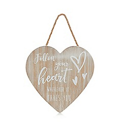 Home Collection - Natural 'Follow Your Heart' hanging sign