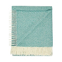 Bronte by Moon - Green merino wool herringbone throw
