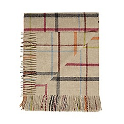 Bronte by Moon - Beige lambswool windowpane throw