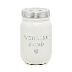 Home Collection - White 'Wedding fund' ceramic jar