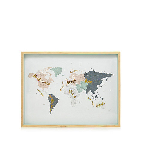 Home collection multi coloured world map wall art debenhams