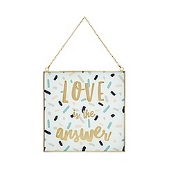 Home Collection - Glass and metal 'Love is the Answer' sign