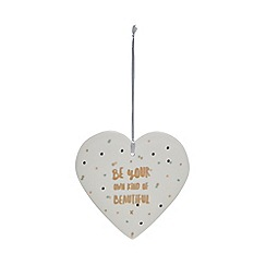 Home Collection - White ceramic 'Be Your Own Kind Of Beautiful' heart sign