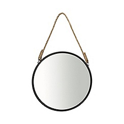 Debenhams - Black round wall mirror with rope